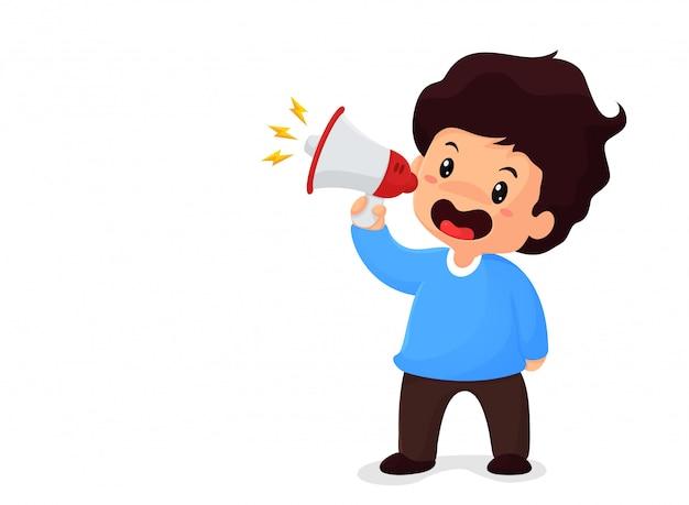 Garoto segurando um megafone gritando para venda conceito de promoção de redução de preço do produto