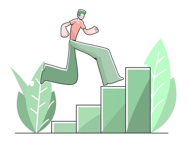 Garoto subindo barras atingindo ilustração bonito dos desenhos animados de objetivo