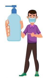 Garoto usando máscara facial e mostrando o frasco de gel de álcool. covid-19 ou ilustração do conceito de coronavírus