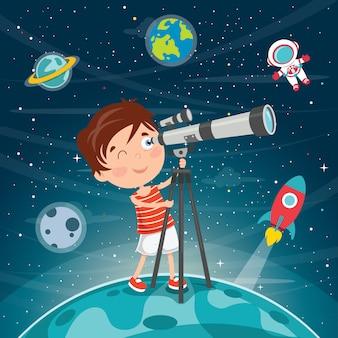 Garoto usando telescópio para pesquisa astronômica