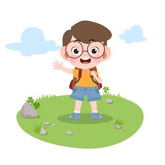 Garoto vai para ilustração vetorial de escola