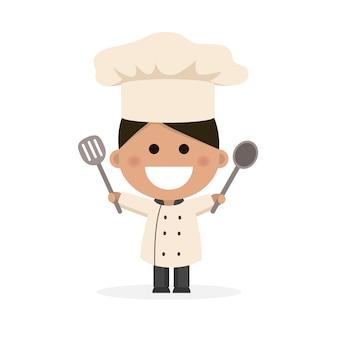 Garoto vestido como um chef. ilustração vetorial plana