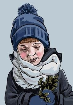 Garoto vestindo roupas quentes de inverno, olhando para um galho de árvore nas mãos.