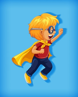 Garoto vestindo super-herói com estrangulamento no retrato de personagem de desenho animado de posição de pé