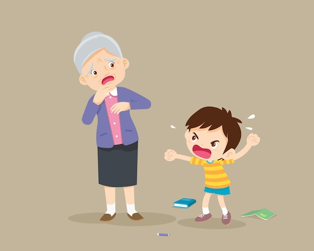 Garoto zangado repreende um idoso triste
