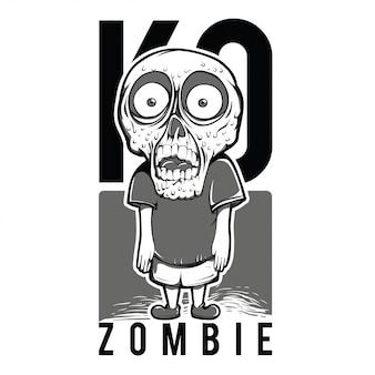 Garoto zombie preto e branco ilustração