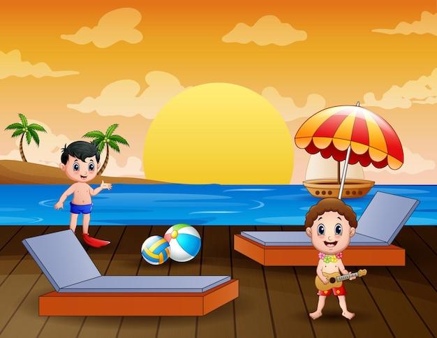 Garotos de férias felizes na ilustração do mar