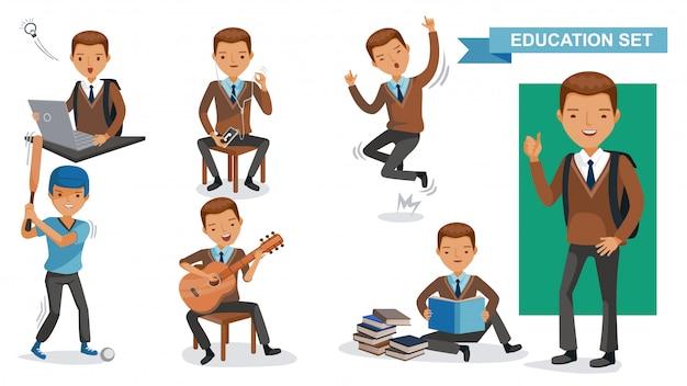 Garotos do ensino médio definido. atividade estudantil e volta ao conceito de escola.