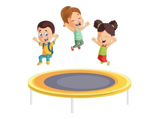 Garotos e garotas fofos brincando no trampolim de volta às aulas ilustração