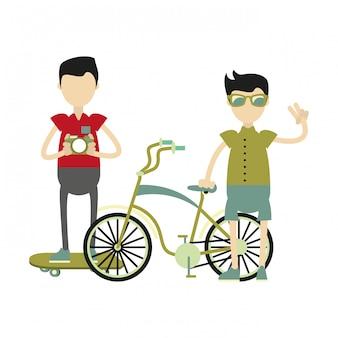 Garotos hipster com acessórios retrô