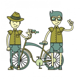 Garotos vintage de bicicleta e turistas