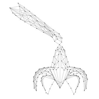 Garra, dispositivo de carregamento, de linhas e pontos pretos poligonais futuristas abstratos. ilustração vetorial.