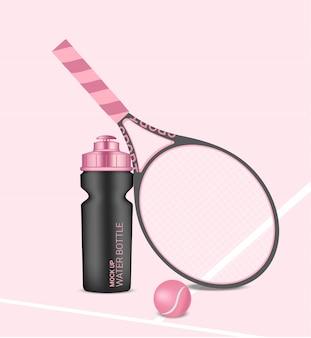 Garrafa 3d realista shaker de água rosa pastel com raquete e bola de tênis