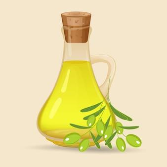 Garrafa com azeite, isolado no fundo branco. jarro de vidro com azeite e azeitonas com folhas em um galho. ilustração.