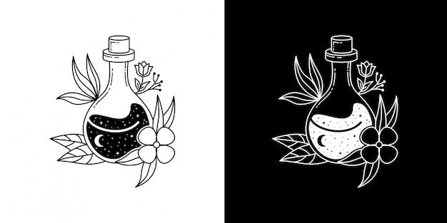 Garrafa com flor monoline design