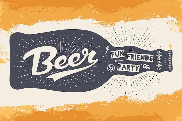 Garrafa com letras desenhadas à mão, texto cerveja aqui