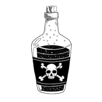 Garrafa com poção de saúde, veneno e caveira poção mão ilustrações desenhadas