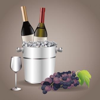 Garrafa copo de vidro copo de gelo uva