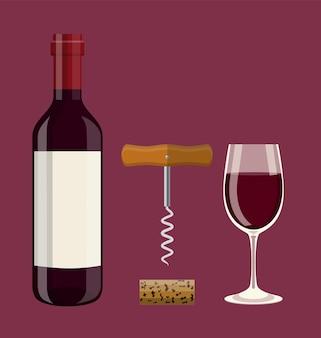 Garrafa, copo de vinho, cortiça, saca-rolhas.