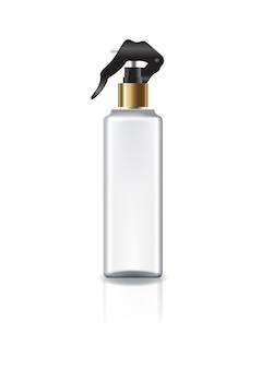 Garrafa cosmética do quadrado branco com cabeça de pulverizador e anel de ouro para a beleza ou o produto saudável.