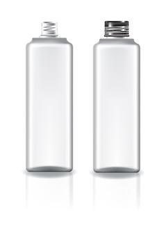 Garrafa cosmética quadrada branca com a tampa preta do parafuso.