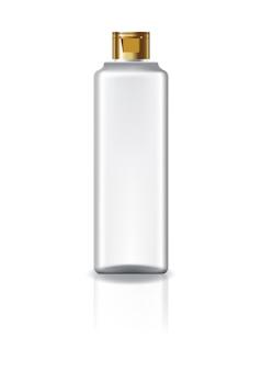 Garrafa cosmética quadrada clara vazia com a tampa do tampão do ouro para a beleza ou o produto saudável.