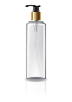 Garrafa cosmética quadrada desobstruída com cabeça da bomba e anel de ouro para a beleza ou o produto saudável.