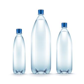 Garrafa de água azul plástica em branco de vetor isolada