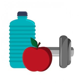 Garrafa de água de ginásio apple e halteres