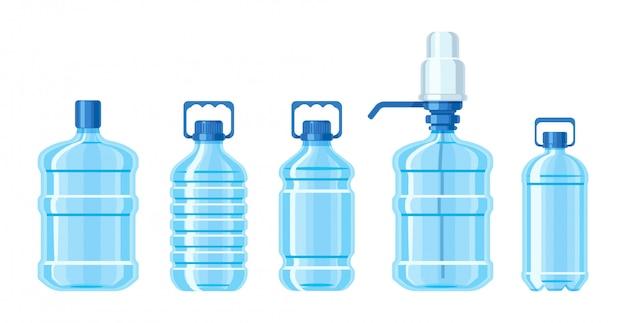 Garrafa de água de plástico de cor azul definida recipientes de diferentes capacidades