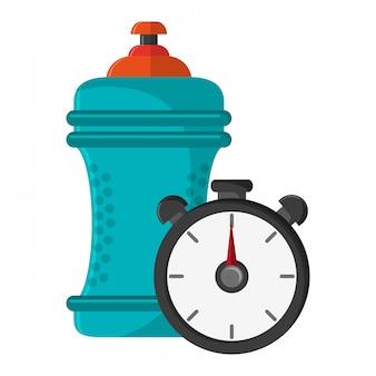 Garrafa de água e relógio temporizador