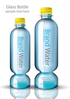 Garrafa de água forma original vector design realista. embalagem de produto simulando illustratio
