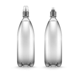 Garrafa de água plástica em branco de vetor isolada