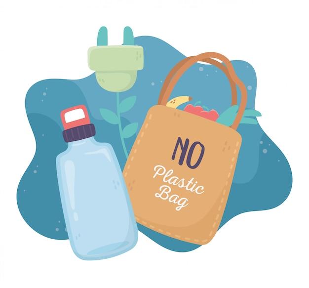 Garrafa de água saco de compras reciclar plug ambiente ecologia