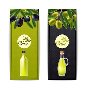 Garrafa de azeite e pourer com banners verticais de azeitonas pretas e verdes definir vecto isolado abstrato