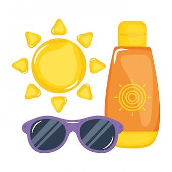 Garrafa de bloqueador solar com óculos de sol e sol