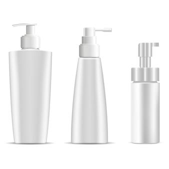 Garrafa de bomba. frascos plásticos de shampoo ou sabonete para cosméticos.