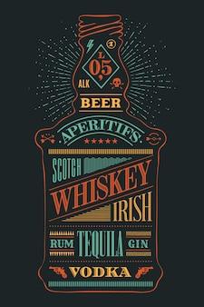 Garrafa de cartaz de álcool com letras de mão desenhada.