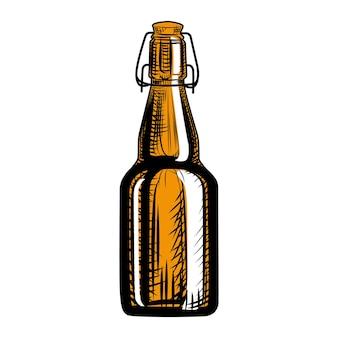 Garrafa de cerveja artesanal. estilo de gravura. mão-extraídas ilustração vetorial, isolada no fundo branco.