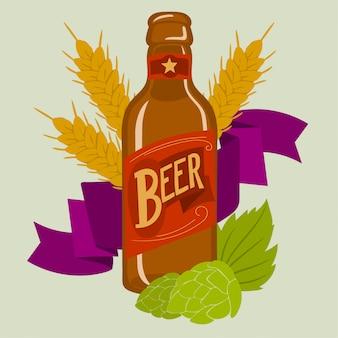 Garrafa de cerveja com espiga de trigo