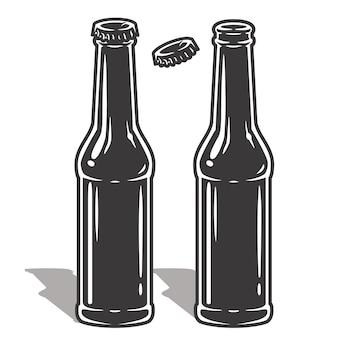 Garrafa de cerveja com espuma e tampa. conjunto de garrafas