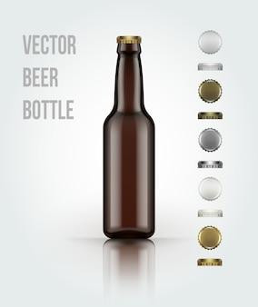 Garrafa de cerveja de vidro em branco para o novo design.
