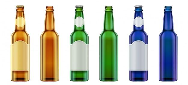 Garrafa de cerveja de vidro em branco verde, amarelo e azul realista