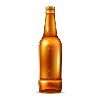 Garrafa de cerveja de vidro realista de vetor com bolhas