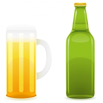 Garrafa de cerveja e copo