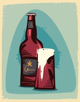 Garrafa de cerveja e coqueteleira de cerveja espumosa