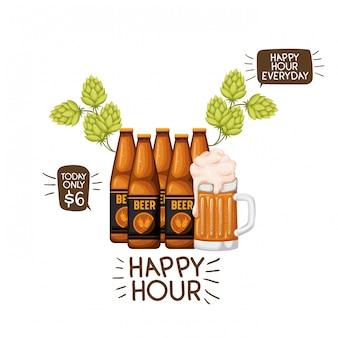 Garrafa de cerveja e vidro isolado ícone