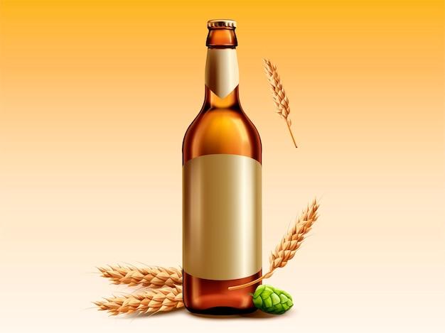 Garrafa de cerveja em branco com trigo e lúpulo para uso em design