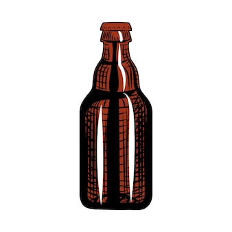 Garrafa de cerveja. estilo de gravura. mão-extraídas ilustração vetorial, isolada no fundo branco.