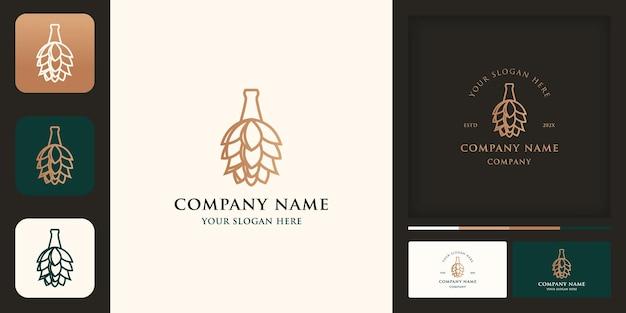 Garrafa de cerveja natural com logotipo de lúpulo flor e cartão de visita
